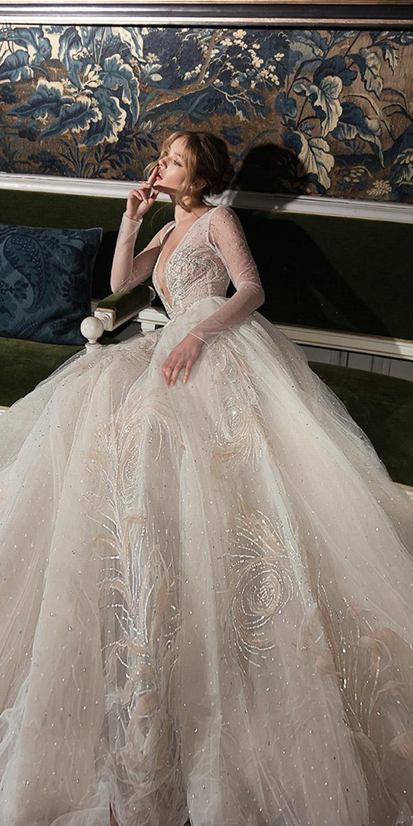 inbal-dror-wedding-dresses-ball-gown-with-long-sleeves-deep-v ...