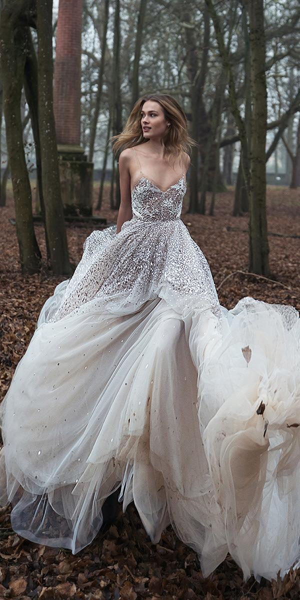 inbal dror wedding dresses ball gown with spaghetti straps sequins 2018