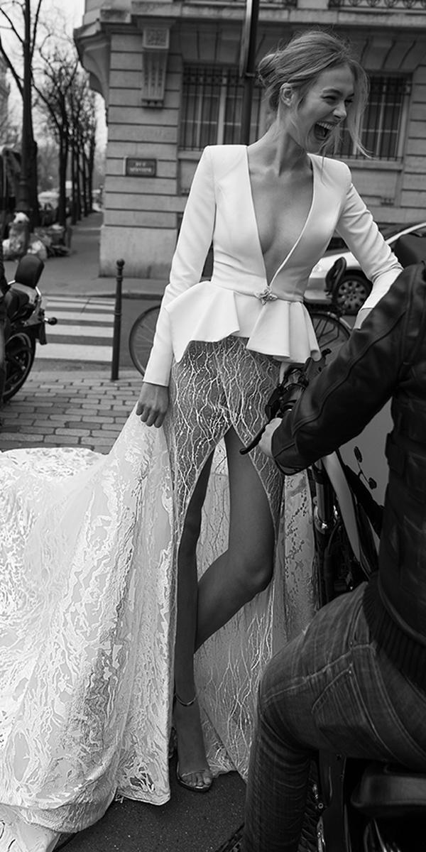 inbal dror wedding dresses deep v neckline with long sleeves jackets modern