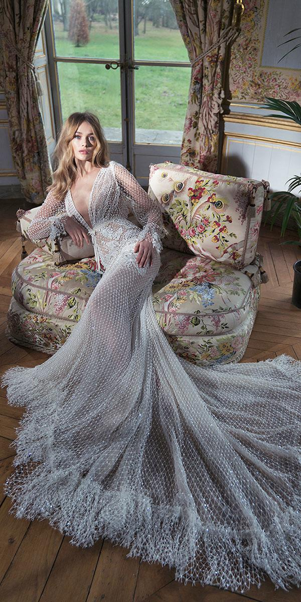 inbal dror wedding dresses deep v neckline with long sleeves unique lace beach