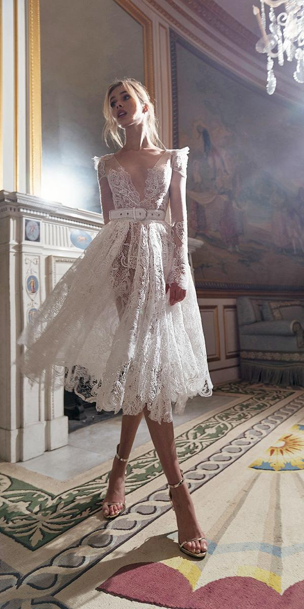 inbal dror wedding dresses tea length with long sleeves plunging neckline full lace beach