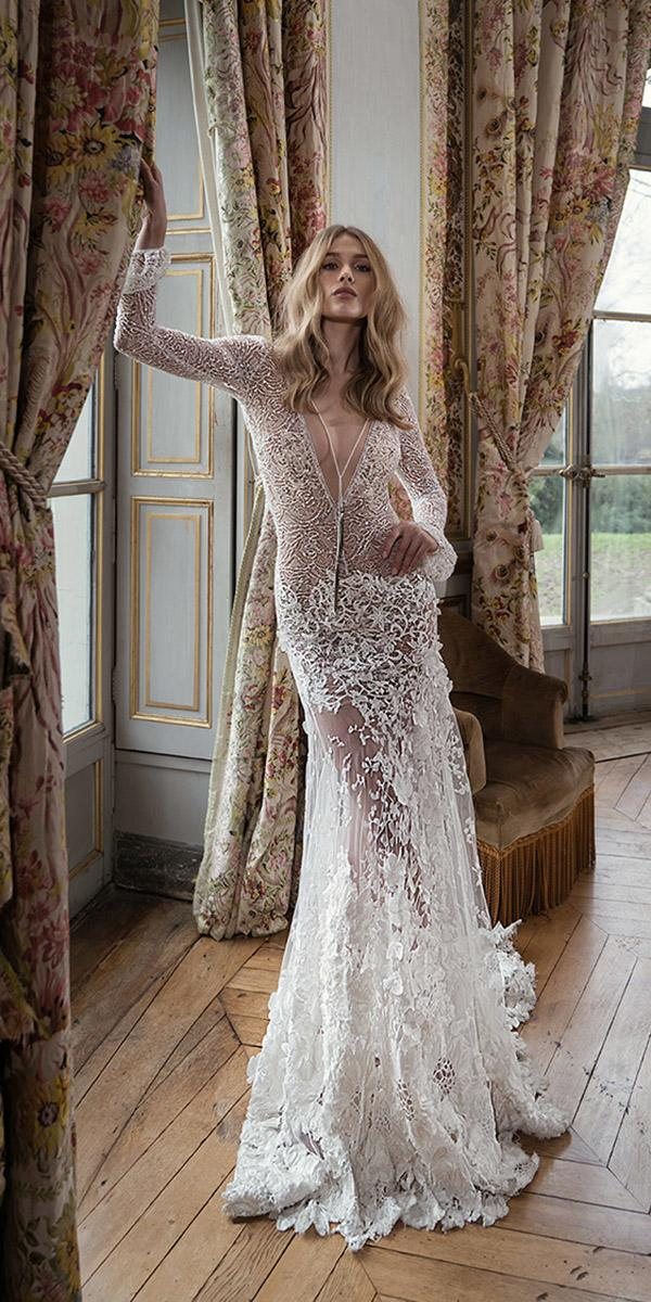 inbal dror wedding dresses with long sleeves deep v neckline sexy beach 2018