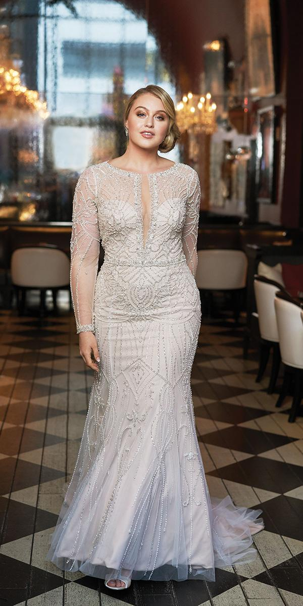 justin alexander wedding dresses 2018 iskra fit and flare with long sleeves deep v neckline beaded for plus size