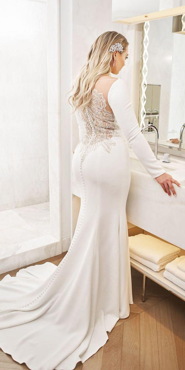 justin alexander wedding dresses 2018 iskra with long sleeves beaded illusion back buttons plus size