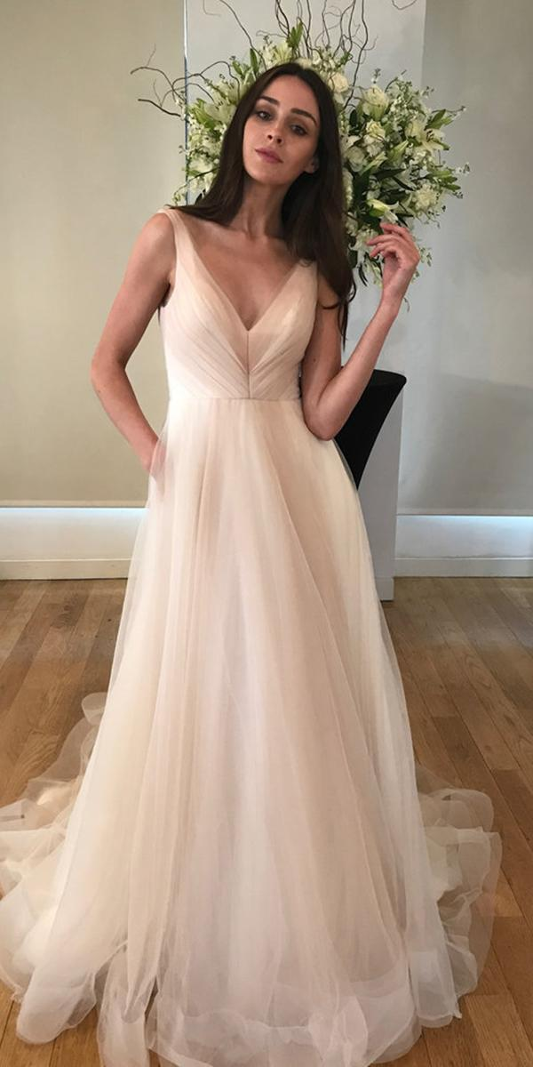 kelly faetanini wedding dresses ball gown v neckline blush simple 2018