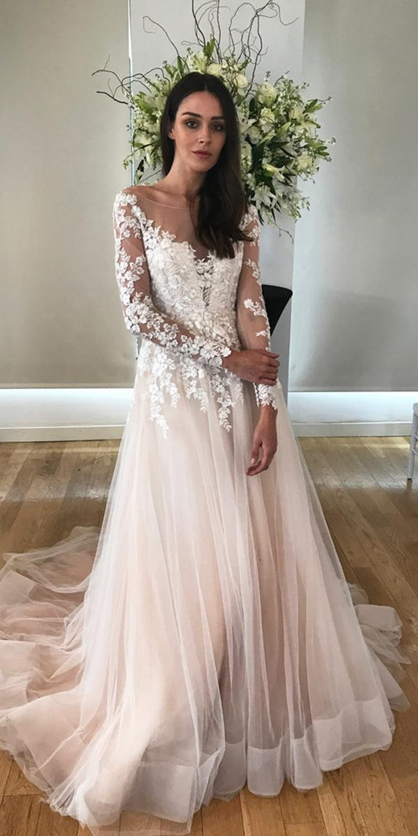 kelly faetanini wedding dresses ball gown with long sleeves floral blush 2018