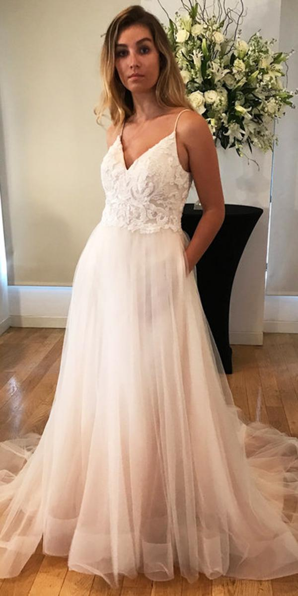 kelly faetanini wedding dresses ball gown with spaghetti straps lace top blush 2018