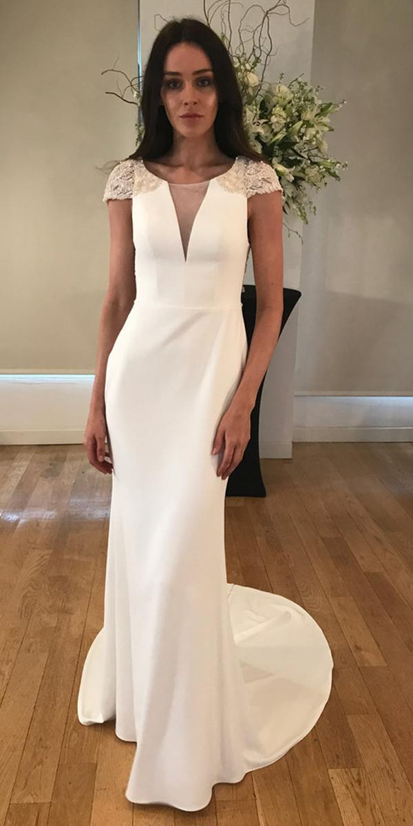 kelly faetanini wedding dresses sheath deep v neckline with cap lace sleeves simple 2018