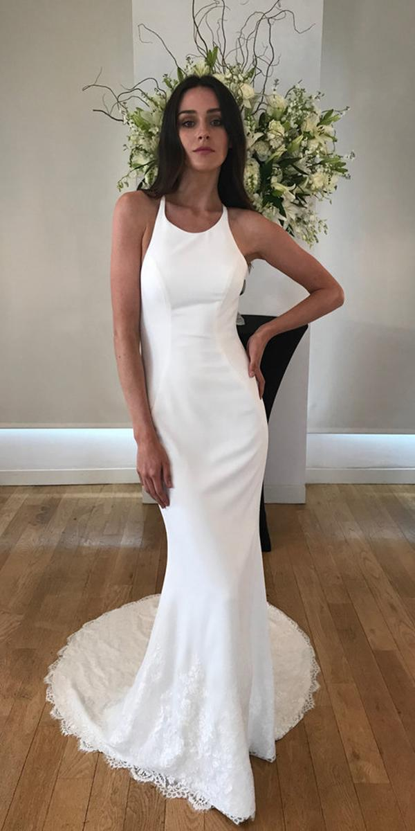 kelly faetanini wedding dresses sheath halter neckline simple 2018