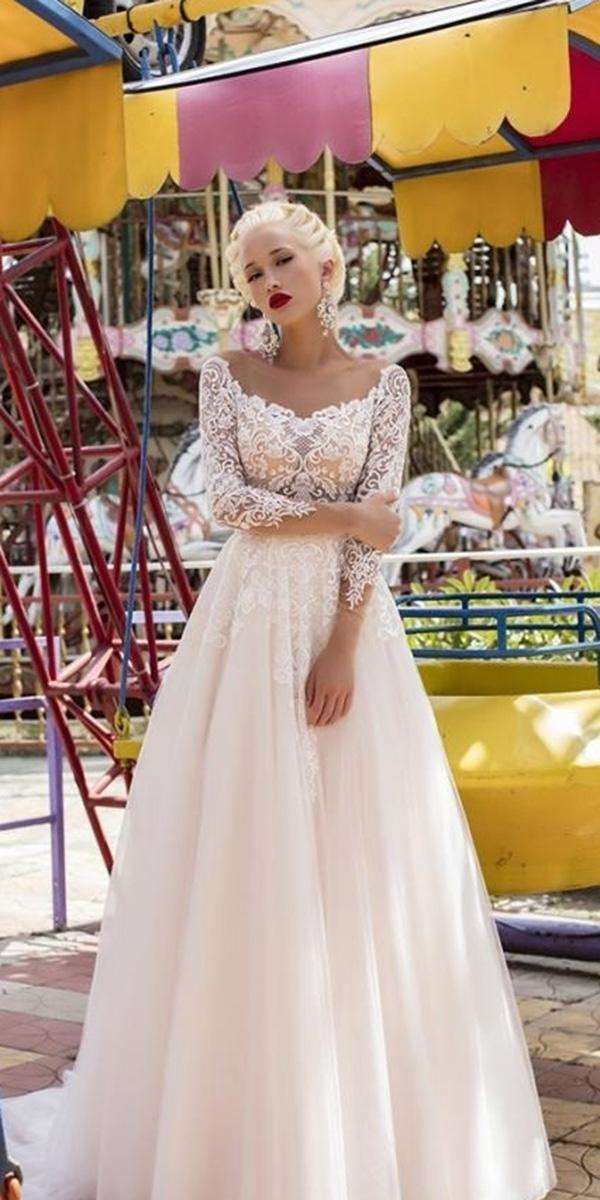 lace bridal gowns a line lace top with sleeves daria karlozi