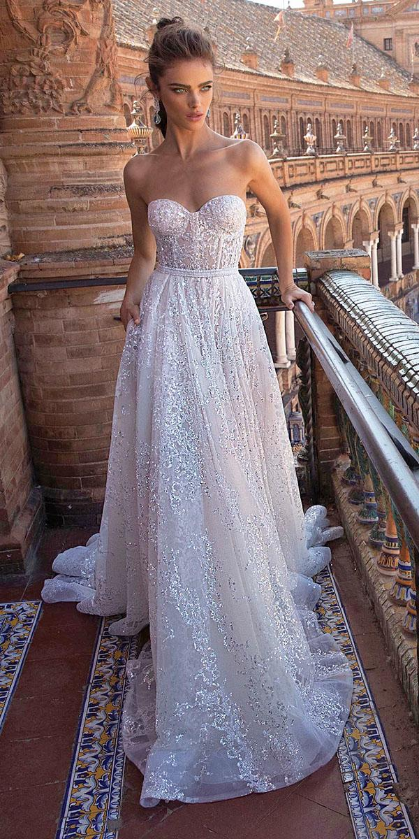 lace bridal gowns a line strapless sequins berta