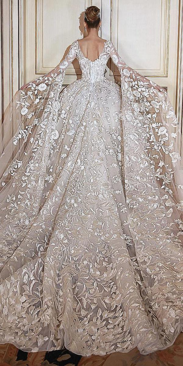 lace bridal gowns ball gown v back with sleeves floral sadek majed couture