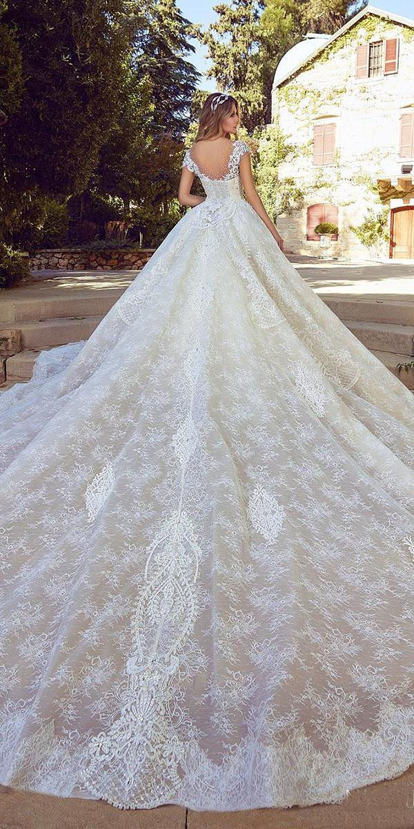 lace bridal gowns ball gown with cap sleeves nisrine ziade