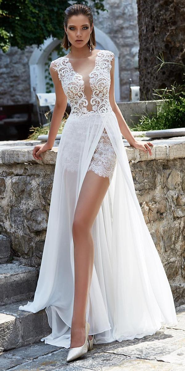 lace bridal gowns deep v neckline lace top beach with slit armonia