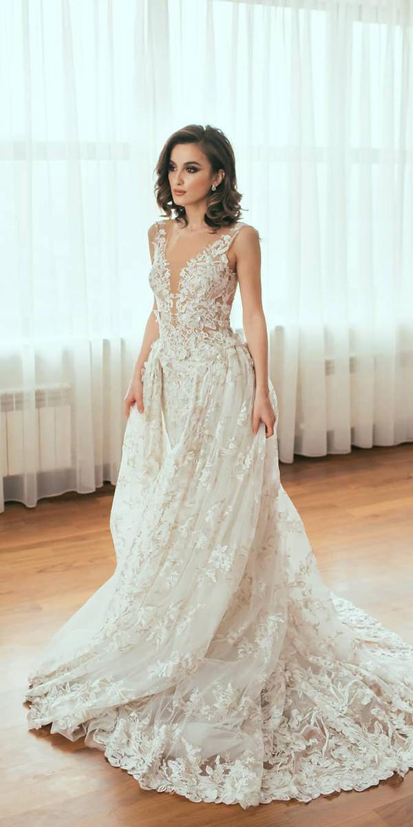 lace bridal gowns deep v neckline with overskirt sleeveless galia lahav