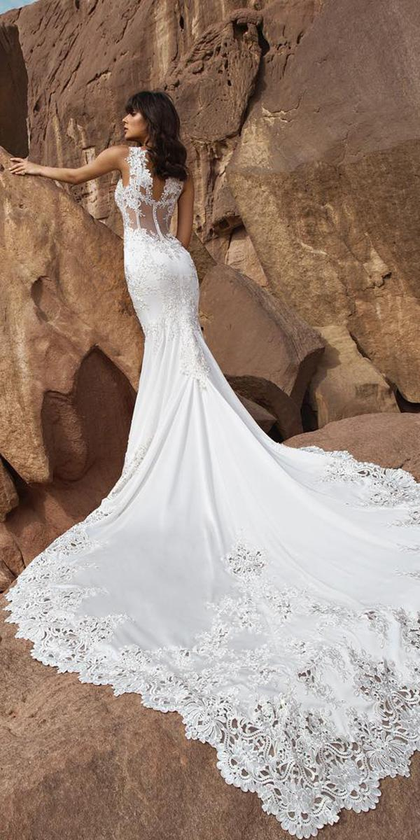 lace bridal gowns mermaid illusion back with train pnina tornai