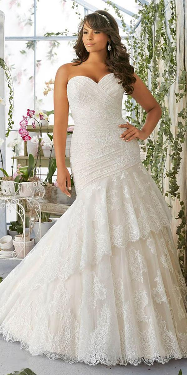 lace bridal gowns mermaid sweetheart for plus size mori lee