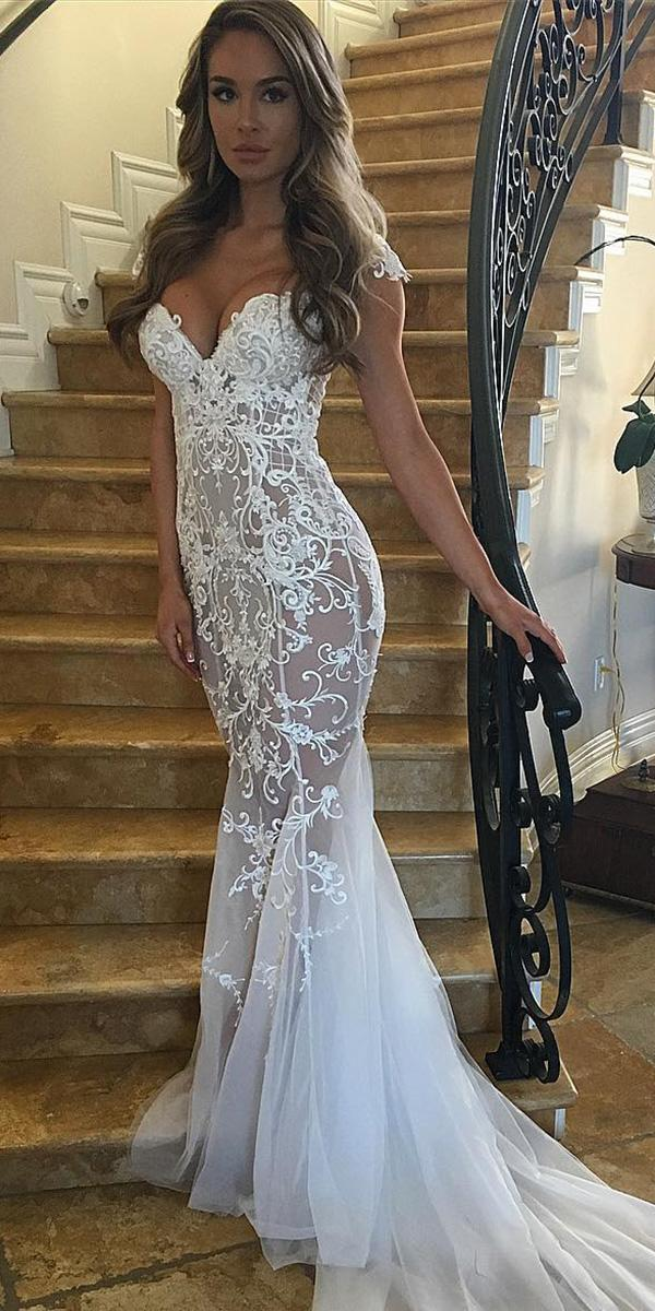 lace-bridal gowns mermaid sweetheart with cap sleeves nektaria world