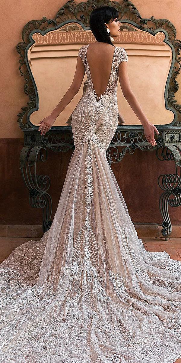 lace bridal gowns mermaid with cap sleeves v back crystal design