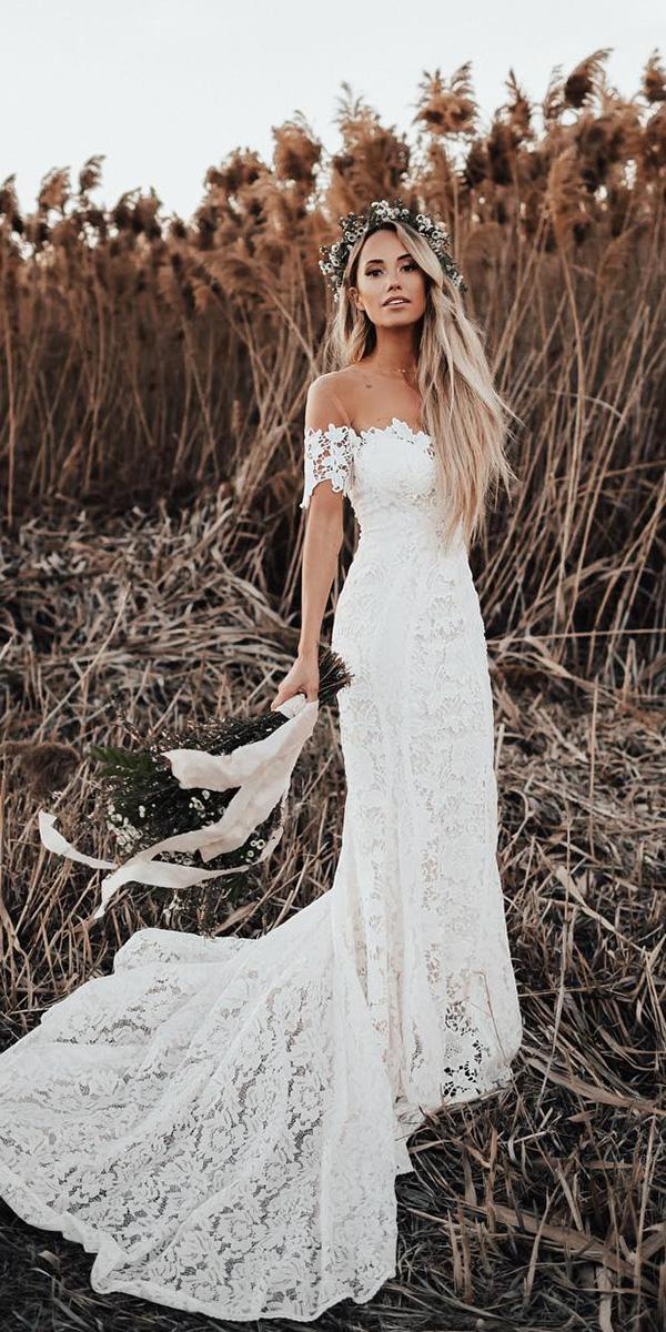 lace bridal gowns sheath off the shoulder boho beach lovers society