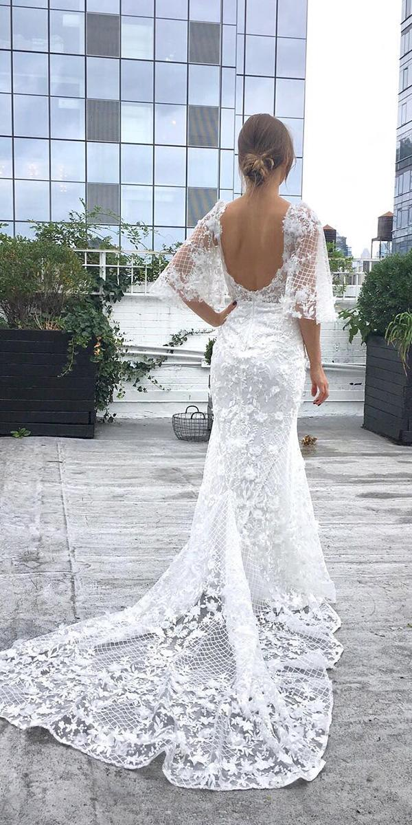 lace bridal gowns sheath open back with train goddess by nature