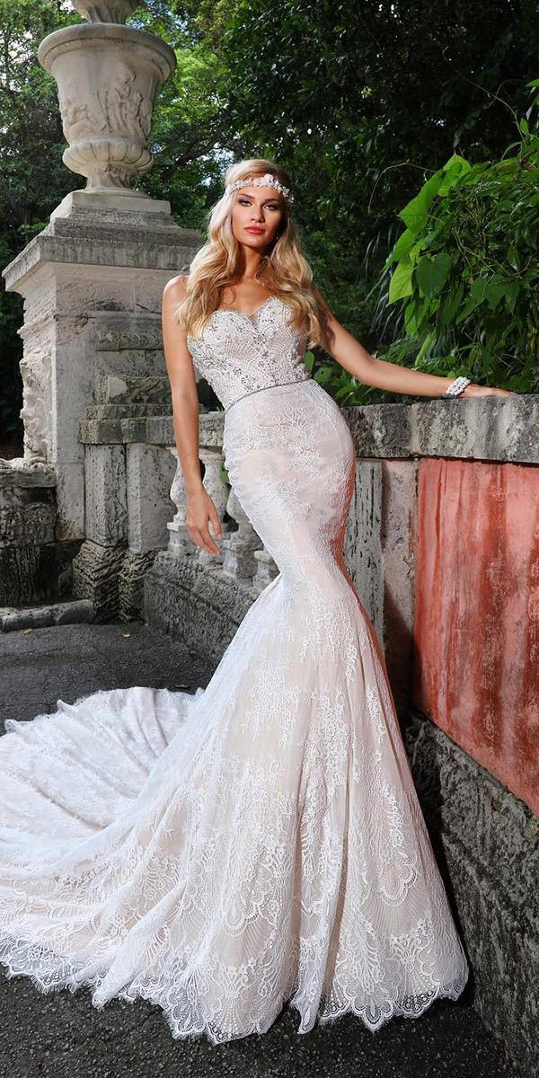 lace bridal gowns sheath strapless with train ashley justin bride