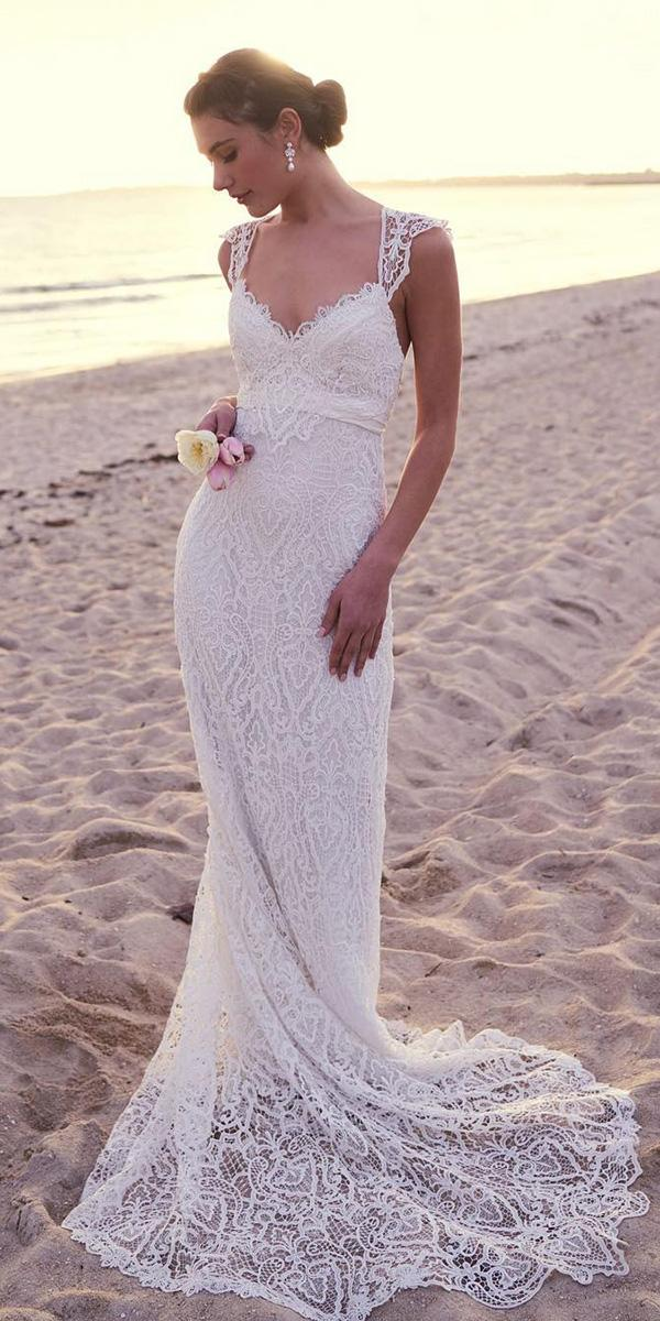 lace bridal gowns sheath sweetheart vintage beach anna campbell bridal