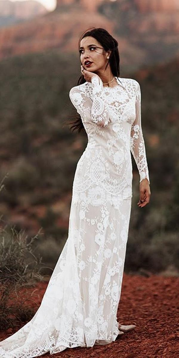lace bridal gowns sheath with long sleeves claire pettibone