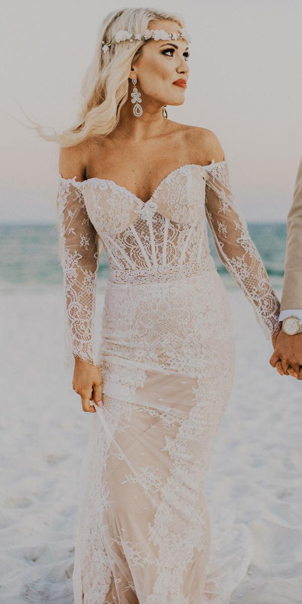 lace bridal gowns strapless with sleeves vintage beach junebug weddings