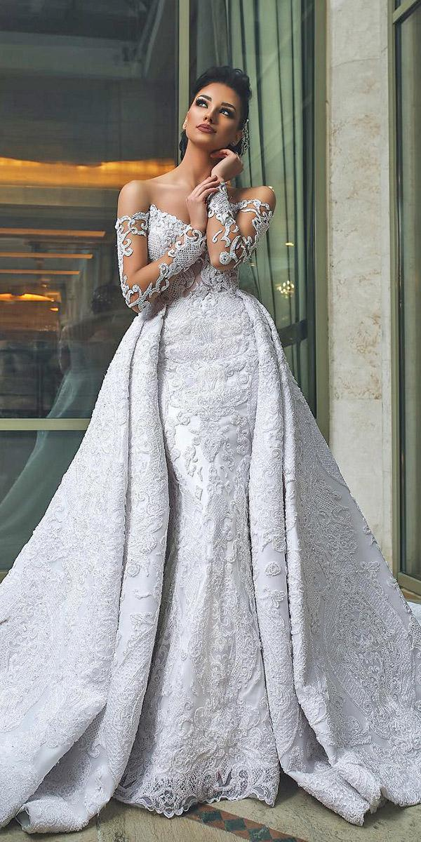 lace bridal gowns with illusion sleeves overskirt mayadas ahmarani hautecouture