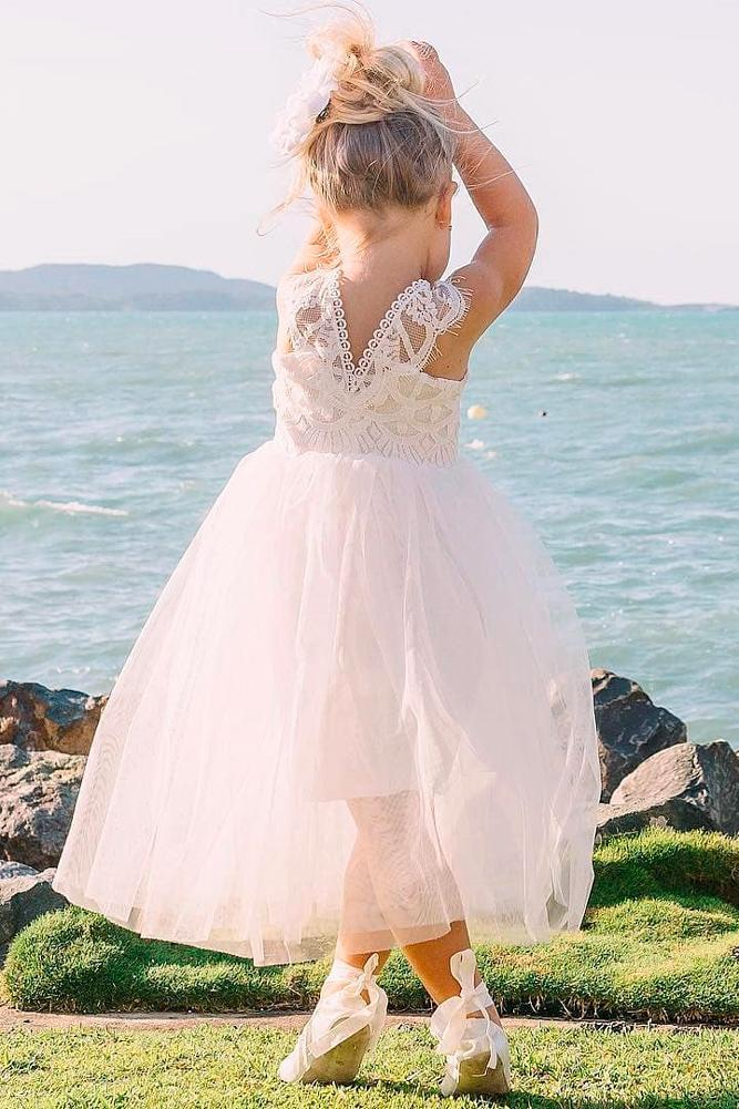 lace flower girl dresses ball gown tulle lace straps sleeveless miss g style