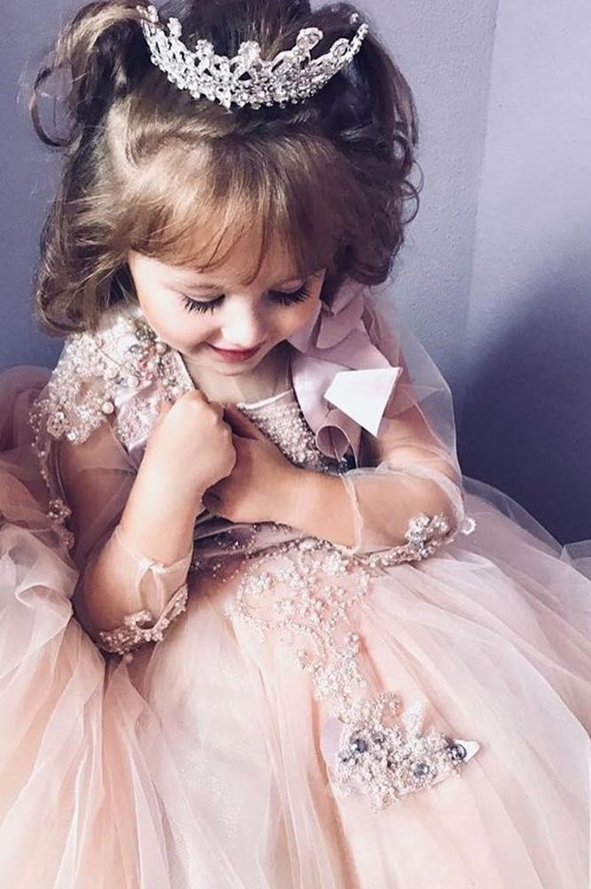 lace flower girl dresses blush hand beaded illusion long sleeves ball gown atolyecadde