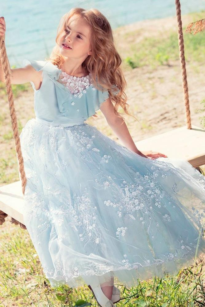 lace flower girl dresses pastel blue with short sleeves papilio