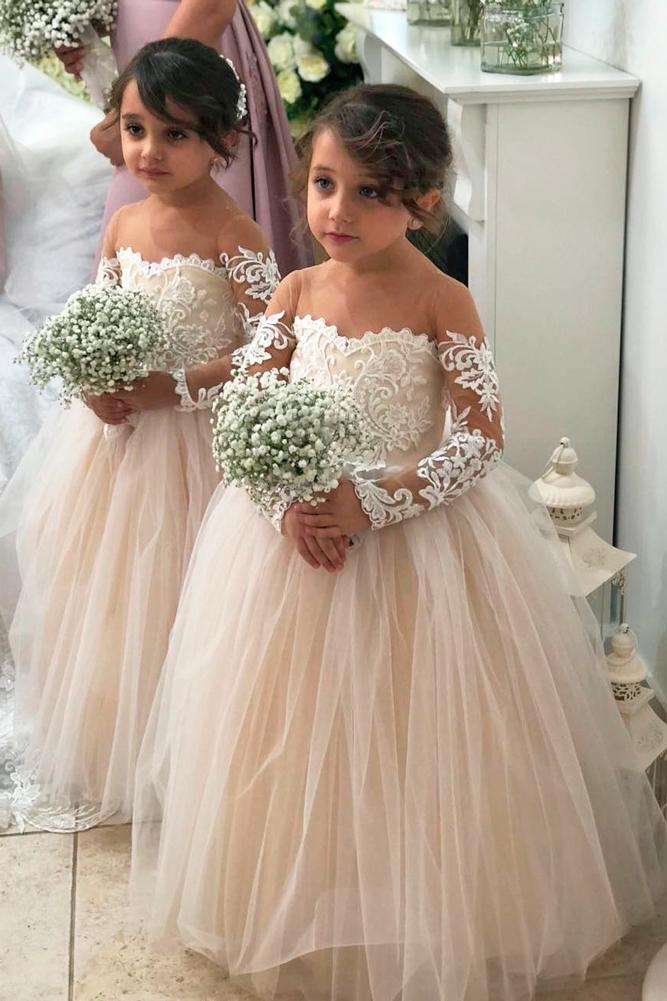 lace flower girl dresses peach ball gown tulle off the shoulder lace long sleeves flower girl dress by vintage rose