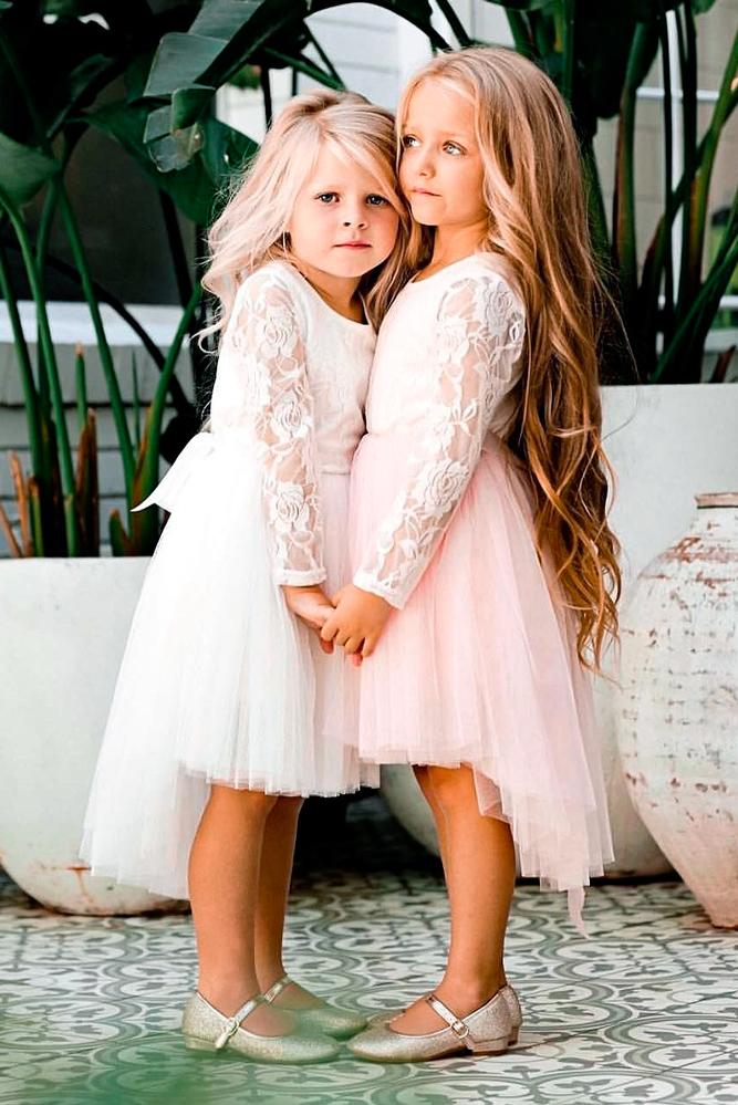 lace tulle skirt long sleeves a line high low lace flower girl dresses miss g style