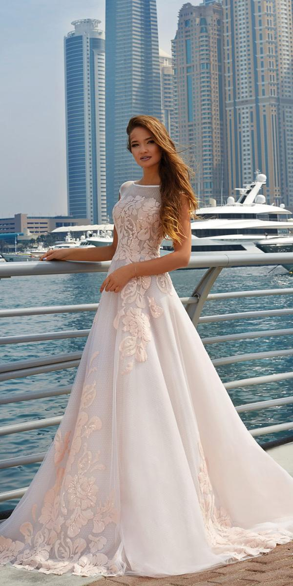 lanesta wedding dresses a line with cap sleeves floral embellishment 2018
