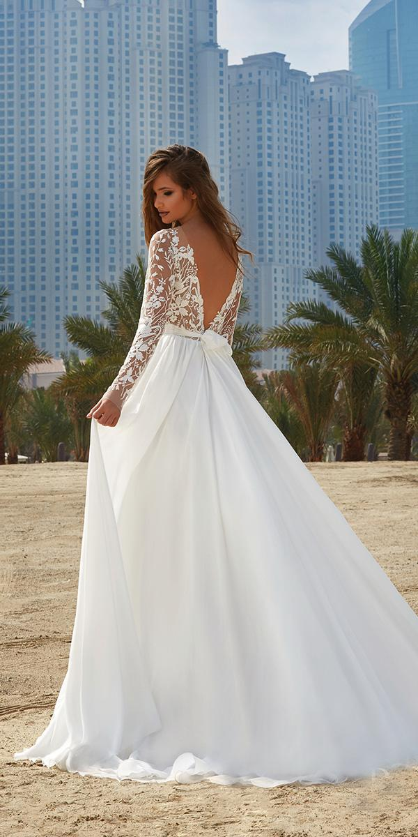 lanesta wedding dresses a line with long sleeves v back lace 2018