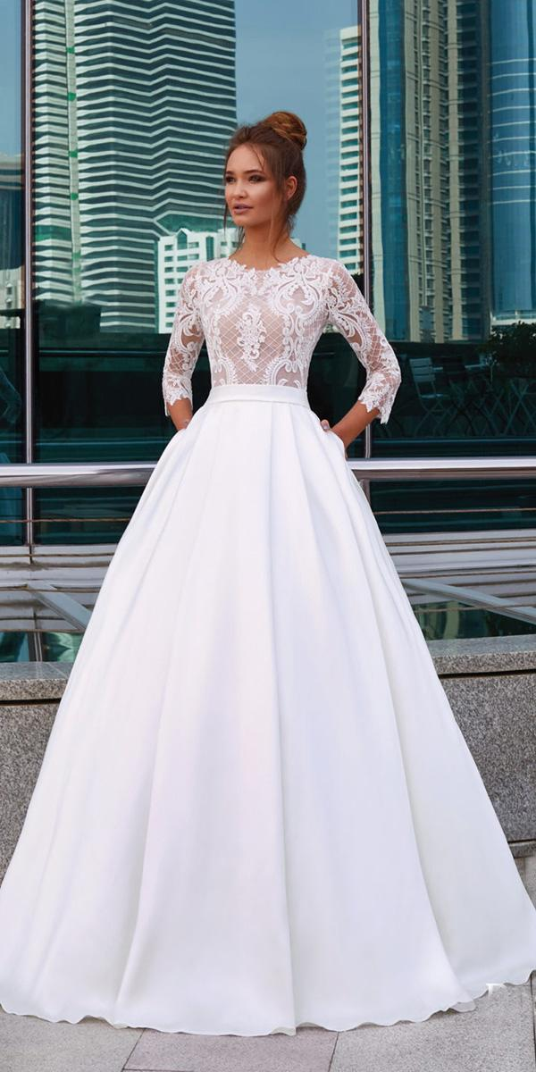 lanesta wedding dresses a line with sleeves lace top 2018