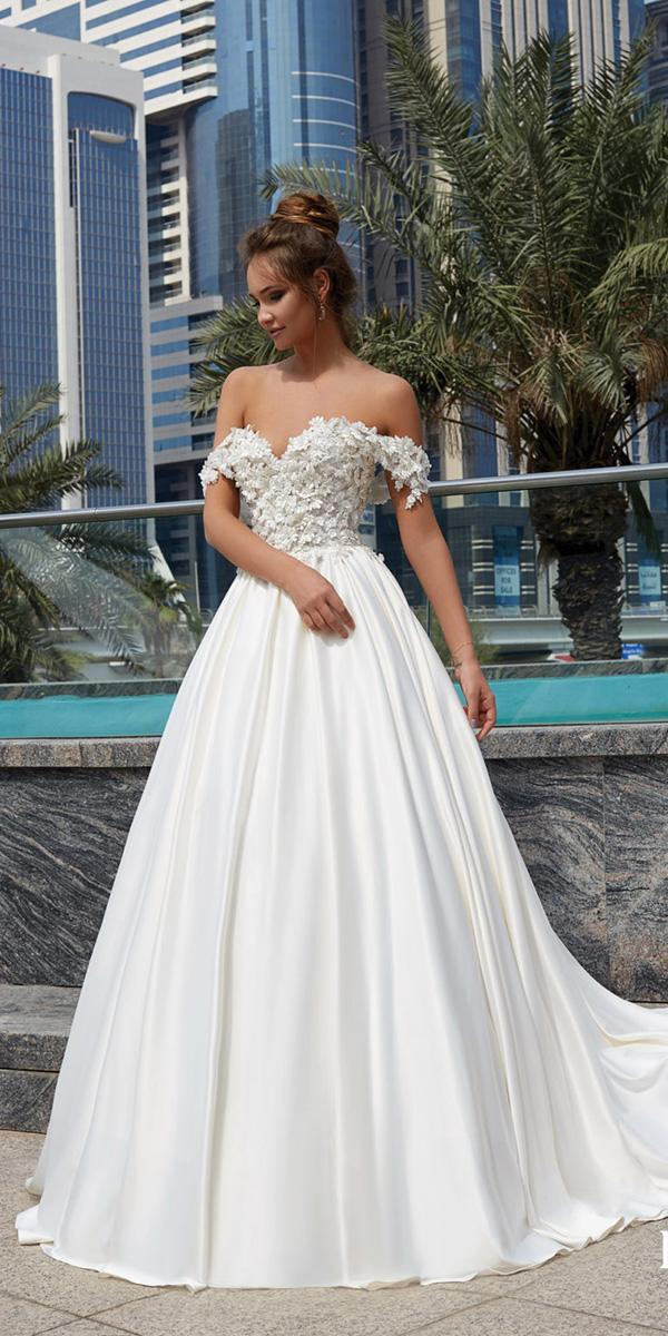 lanesta wedding dresses ball gown off the shoulder floral appliques top 2018
