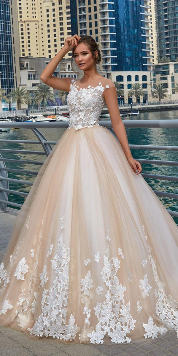 lanesta wedding dresses ball gown with cap sleeves blush floral appliques