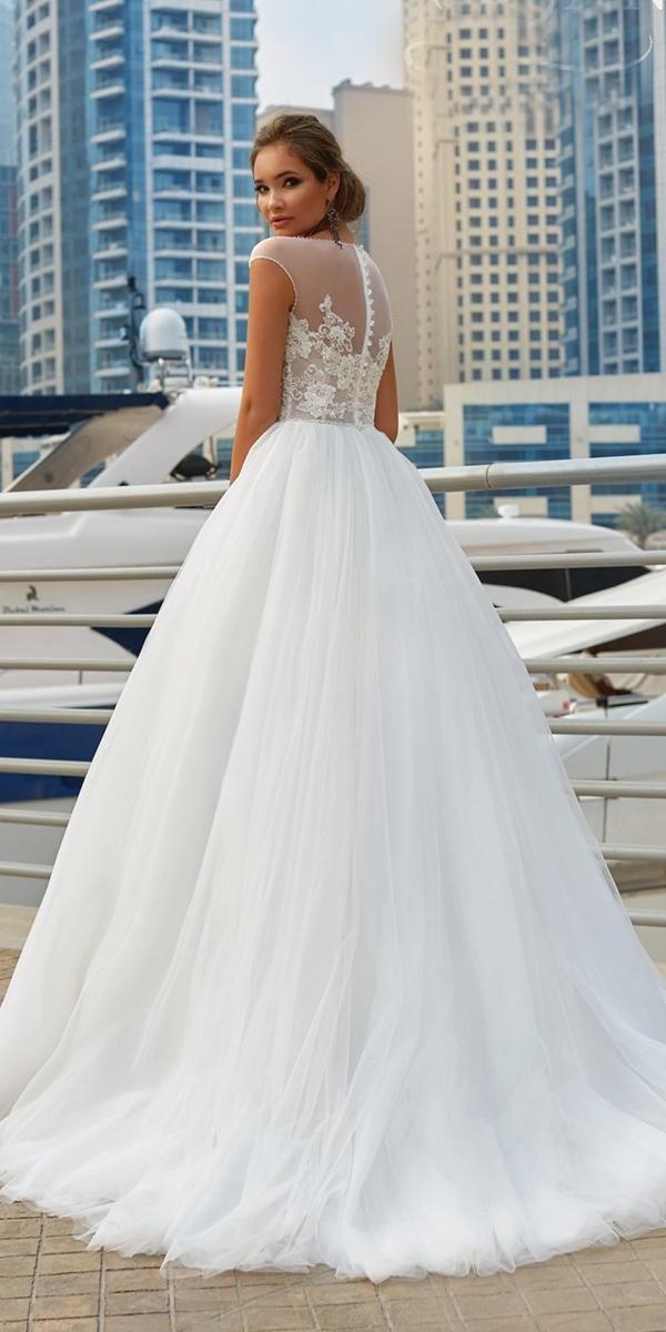 lanesta wedding dresses ball gown with illusion back buttons floral appliques