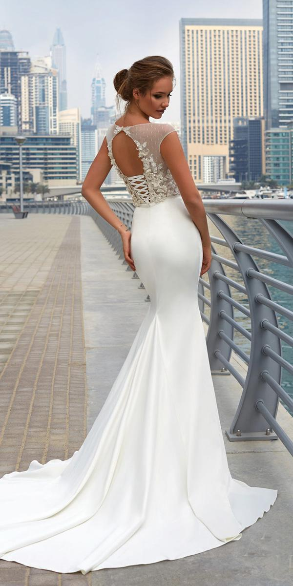 lanesta wedding dresses mermaid open back floral appliques 2018