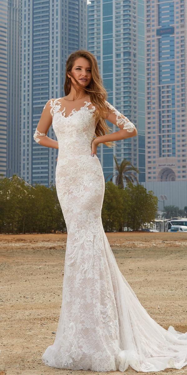 lanesta wedding dresses mermaid with illusion sleeves full lace 2018 beach