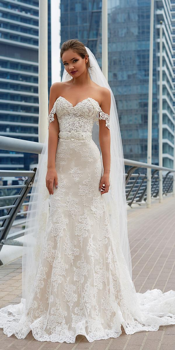 lanesta wedding dresses off the shoulder strapless lace with veil 2018