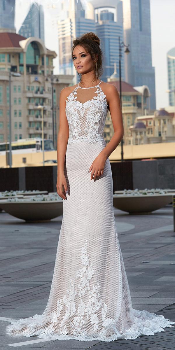 lanesta wedding dresses sheath halter neckline lace floral beach 2018