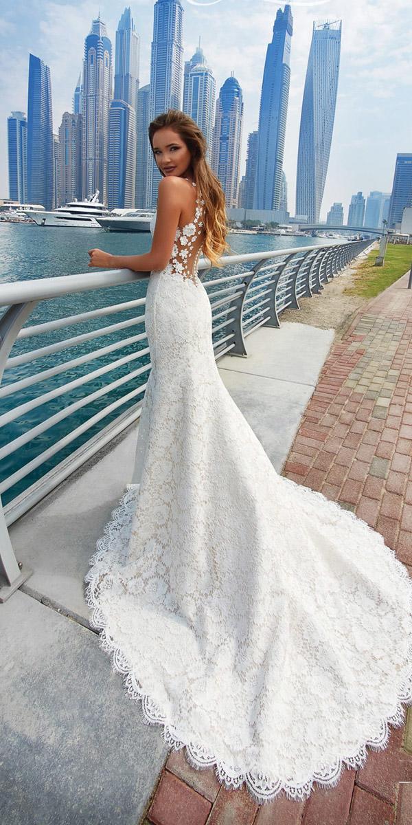 lanesta wedding dresses sheath lace illusion back floral appliques beach 2018
