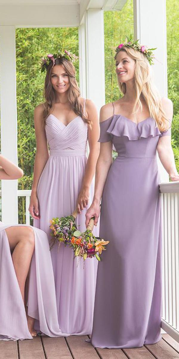 lavender bridesmaid dresses mismatched with straps long dresses bari jay