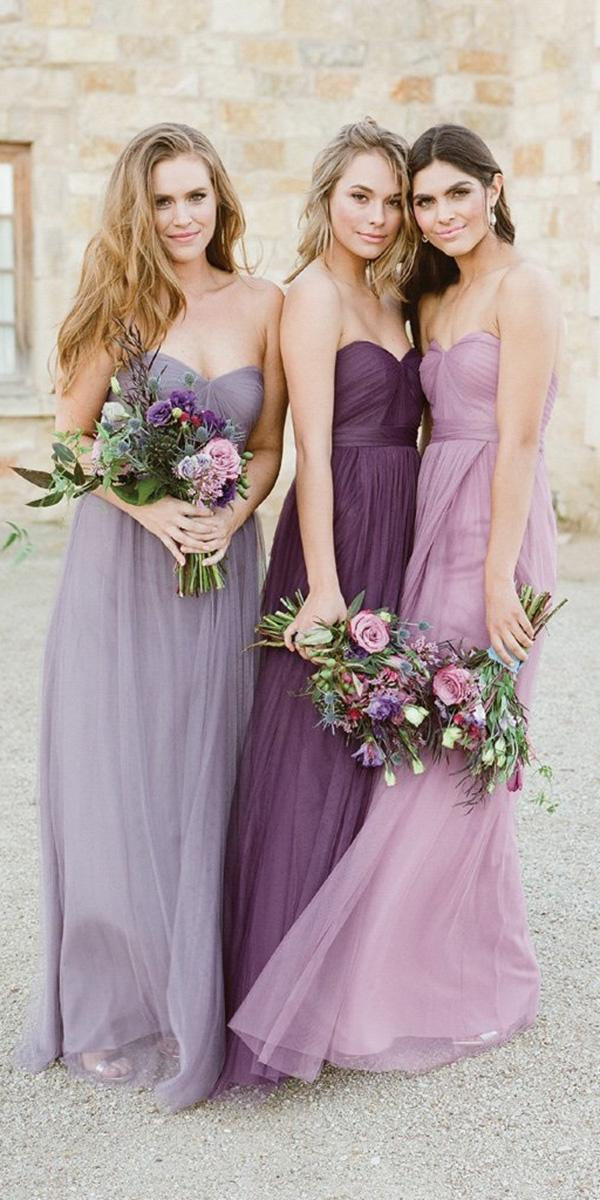 lavender bridesmaid dresses strapless sweetheart mismatched long jenny yoo