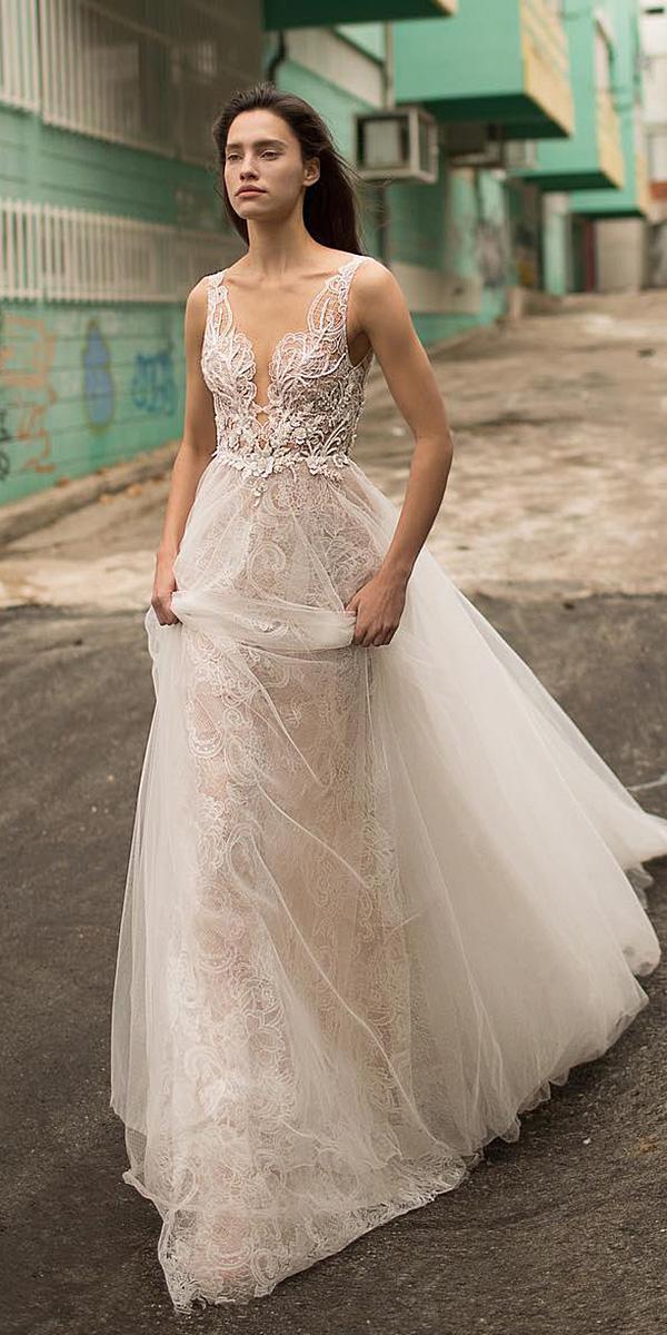 liz martinez wedding dresses deep v neckline lace top for beach sexy 2018