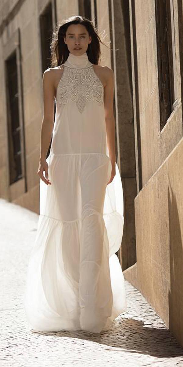 liz martinez wedding dresses high neck lace embroidered beach destination 2018